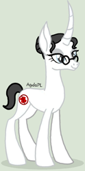 Size: 596x1200 | Tagged: safe, artist:agdapl, pony, unicorn, base used, eyelashes, female, glasses, gray background, grin, horn, mare, medic, rule 63, signature, simple background, smiling, solo, team fortress 2