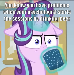 Size: 565x576 | Tagged: safe, edit, screencap, starlight glimmer, pony, unicorn, marks for effort, alcohol, beer, chocolate, cropped, drink, drinking, empathy cocoa, female, floppy ears, food, glow, glowing cup, glowing horn, horn, hot chocolate, lifting, mare, shrunken pupils, solo, starlight is not amused, starlight's office, text, unamused