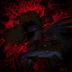 Size: 4000x4000 | Tagged: safe, artist:alumx, princess celestia, alicorn, pony, alternate design, black hole sun, edgy, solo, spread wings, wings