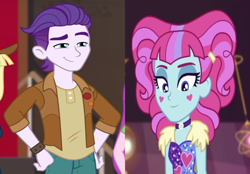 Size: 1506x1050 | Tagged: safe, edit, screencap, dirk thistleweed, kiwi lollipop, equestria girls, equestria girls series, how to backstage, lost and pound, spoiler:choose your own ending (season 2), spoiler:eqg series (season 2), clothes, crack shipping, cropped, female, happy, heart, k-lo, lost and pound: rarity, male, shipping, shipping domino, smiling, solo focus, straight, thistlepop