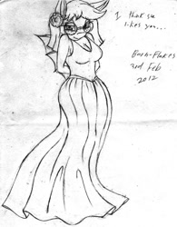 Size: 701x900   Tagged: safe, artist:barn-flakes, oc, oc only, sea pony, anthro, bedroom eyes, clothes, dress, female, glasses, lineart, sea pony oc, signature, talking, traditional art