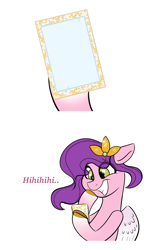 Size: 2048x3256   Tagged: safe, artist:balychen, pipp petals, pegasus, pony, g5, cellphone, dialogue, exploitable, female, grin, high res, hoof hold, looking down, mare, meme template, phone, smartphone, smiling, solo, teeth, text, wings