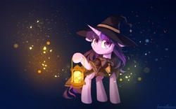 Size: 3450x2150 | Tagged: safe, artist:emeraldgalaxy, twilight sparkle, pony, unicorn, bowtie, cloak, clothes, colored pupils, cutie mark, cutie mark on clothes, female, floppy ears, hat, high res, hoof hold, lantern, mare, solo, unicorn twilight, witch hat