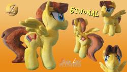 Size: 1280x720 | Tagged: safe, artist:steam-loco, oc, oc:stjonal, pegasus, pony, cutie mark, embroidery, male, meme face, pegasus oc, photo, plushie, solo, spread wings, wings