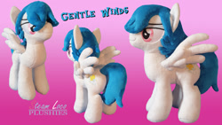 Size: 1280x720 | Tagged: safe, artist:steam-loco, oc, oc:gentle winds, pegasus, pony, cutie mark, embroidery, male, pegasus oc, photo, plushie, solo, spread wings, wings