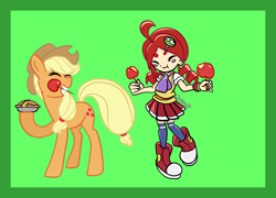 Size: 2600x1876 | Tagged: safe, artist:chelseawest, applejack, apple, apple pie, apple toffee, blush sticker, blushing, colored background, crossover, food, pie, puyo puyo, ringo ando