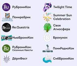 "Size: 713x606   Tagged: safe, bronukon, ca ""magic of friendship"", convention, cyrillic, derpfest, logo, newbronycon, ponirebrik, ponyradiocon, re:questria, rubronycon, russia, russian, sibbronycon, svatmosfera, ukraine"