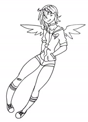 Size: 1328x1830 | Tagged: safe, artist:ruxikah, rainbow dash, human, bandaid, black and white, choker, clothes, eye clipping through hair, female, grayscale, hands in pockets, hoodie, humanized, lineart, monochrome, shoes, shorts, socks, solo, traditional art, winged humanization, wings