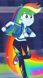 Size: 1920x3423 | Tagged: safe, screencap, rainbow dash, equestria girls, equestria girls series, run to break free, spoiler:eqg series (season 2), backpack, clothes, converse, cropped, cute, cutie mark, cutie mark on clothes, dashabetes, female, geode of super speed, hoodie, jewelry, magical geodes, necklace, rainbow trail, running, shoes, smiling, solo