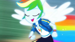 Size: 3410x1920 | Tagged: safe, screencap, rainbow dash, equestria girls, equestria girls series, run to break free, spoiler:eqg series (season 2), backpack, clothes, cropped, cute, cutie mark, cutie mark on clothes, dashabetes, eyes closed, female, geode of super speed, hoodie, jewelry, magical geodes, necklace, open mouth, ponied up, rainbow trail, running, singing, smiling, solo, transformation, wings