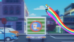 Size: 3410x1920 | Tagged: safe, screencap, rainbow dash, equestria girls, equestria girls series, run to break free, spoiler:eqg series (season 2), backpack, car, clothes, converse, cropped, cute, cutie mark, cutie mark on clothes, dashabetes, eyes closed, female, food, geode of super speed, hoodie, jewelry, juice, jumping, magical geodes, necklace, orange, orange juice, ponied up, rainbow trail, running, shoes, smiling, solo, truck, wings