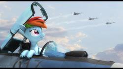 Size: 2920x1642 | Tagged: safe, artist:mister-karter, rainbow dash, pegasus, pony, 3d, cyrillic, fighter plane, military, russian, smiling, source filmmaker