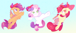 Size: 2250x1000 | Tagged: artist needed, safe, apple bloom, scootaloo, sweetie belle, earth pony, pegasus, unicorn, beret, cute, cutie mark crusaders, drawthread, hat, hop movie, nunchucks, pink berets, requested art, weapon