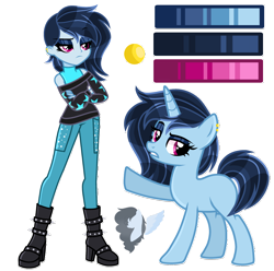 Size: 2150x2130   Tagged: safe, artist:skyfallfrost, oc, pony, unicorn, equestria girls, boots, clothes, human ponidox, pants, reference sheet, self ponidox, shirt, shoes, simple background, solo, transparent background
