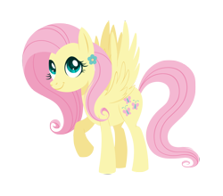 Size: 3500x3080 | Tagged: safe, artist:belka-sempai, artist:dariasound, fluttershy, pegasus, pony, collaboration, cute, female, flower, high res, mare, raised hoof, shyabetes, simple background, smiling, solo, spread wings, standing, three quarter view, transparent background, wings