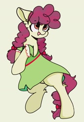 Size: 1280x1864 | Tagged: safe, artist:星梦, hilly hooffield, earth pony, pony, the hooffields and mccolts, background pony, bow, clothes, cute, female, hair bow, hooffield family, mare, pigtails, pose, simple background, solo
