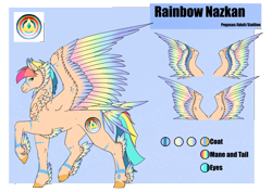 Size: 4961x3508 | Tagged: safe, artist:oneiria-fylakas, oc, oc:rainbow nazkan, pegasus, pony, colored wings, feathered fetlocks, gradient wings, male, multicolored wings, rainbow wings, reference sheet, solo, stallion, tail feathers, wings
