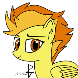 Size: 500x500   Tagged: safe, alternate version, artist:mh148, spitfire, pegasus, fixed, simple background, solo, transparent background