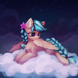 Size: 2000x2000   Tagged: safe, alternate version, artist:inowiseei, derpibooru exclusive, oc, oc only, oc:jeppesen, pegasus, pony, behaving like a bird, braid, braided tail, chest fluff, cloud, commission, cute, ear fluff, feather, female, flower, flower in hair, grooming, lying down, mare, multicolored hair, night, night sky, pegasus oc, preening, prone, sky, solo, stars, twin braids, wing noms, wings