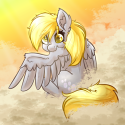 Size: 4000x4000 | Tagged: safe, artist:witchtaunter, derpy hooves, pegasus, pony, cloud, cute, derpabetes, ear fluff, female, grooming, preening, solo, sunset, sweet dreams fuel