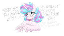 Size: 2012x1123 | Tagged: safe, artist:flutterthrash, princess flurry heart, alicorn, pony, blatant lies, blushing, cute, denial's not just a river in egypt, female, flurrybetes, grooming, i'm not cute, older, older flurry heart, preening, solo, text, tongue out