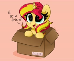 Size: 4096x3362   Tagged: safe, artist:kittyrosie, sunset shimmer, pony, unicorn, equestria girls, blushing, box, cute, female, happy, heart eyes, hnnng, kittyrosie is trying to murder us, mare, open mouth, pony in a box, shimmerbetes, simple background, solo, talking to viewer, weapons-grade cute, wingding eyes