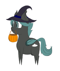 Size: 667x782 | Tagged: safe, artist:shoophoerse, oc, oc:smidge, bat pony, pony, bat pony oc, bat wings, chibi, clothes, costume, fangs, halloween, halloween costume, hat, holiday, pointy legs, pointy ponies, pumkpin bucket, simple background, slit eyes, snaggletooth, solo, white background, wings, witch hat
