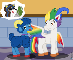 Size: 6000x5000 | Tagged: safe, artist:melisareb, oc, oc only, oc:irene iridium, oc:oscar osmium, oc:ruthistle ruthenium, deer, object pony, original species, pegasus, peryton, pony, sheep, .svg available, absurd resolution, clairev, colored wings, doe, ear piercing, earring, eyes closed, female, grooming, horns, jewelry, klara viskova, male, mare, multicolored wings, now you fucked up, open mouth, piercing, ponified, preening, rainbow wings, ram, shrunken pupils, style emulation, taste the rainbow, vector, wings
