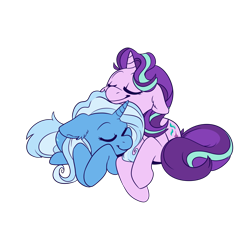 Size: 1280x1152   Tagged: safe, artist:serfuzzypushover, starlight glimmer, trixie, pony, unicorn, convenient trixie, cuddling, eyes closed, female, lesbian, shipping, simple background, smiling, snuggling, startrix, transparent background