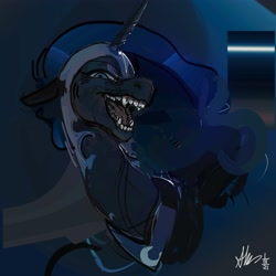 Size: 4000x4000 | Tagged: safe, artist:alumx, nightmare moon, alicorn, pony, floppy ears, lidded eyes, looking at you, open mouth, sharp teeth, sketch, smiling, solo, teeth