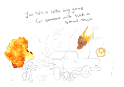 Size: 1700x1200   Tagged: safe, artist:lyrabop, oc, oc only, oc:lyrabop, oc:shepard, earth pony, pegasus, pony, 100 gecs, duo, explosion, shitposting, shitposting loudly, simple background, text, truck, white background