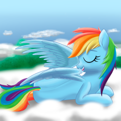Size: 2000x2000 | Tagged: safe, artist:stellardust, derpibooru exclusive, rainbow dash, pegasus, pony, april fools, april fools 2021, cloud, eyes closed, female, grooming, lying down, mare, on a cloud, preening, prone, solo