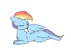 Size: 600x450 | Tagged: safe, artist:captainpudgemuffin, color edit, edit, edited edit, editor:dashiswaifu69, rainbow dash, pegasus, pony, captainpudgemuffin is trying to murder us, colored, cute, dashabetes, eyes closed, female, grooming, licking, licking wings, lying down, mare, missing cutie mark, mlem, on side, preening, prone, silly, simple background, solo, spread wings, tongue out, white background, wings