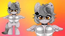 Size: 1280x720 | Tagged: safe, artist:techycutie, oc, oc only, oc:snuffy, hybrid, pegasus, pony, raccoon, raccoon pony, choker, clothes, collar, cute, cute little fangs, ear piercing, fangs, female, gradient background, live2d, mare, piercing, ponified, socks, standing, striped socks, vtuber