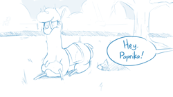 Size: 1920x1080 | Tagged: safe, artist:hitsuji, arizona cow, paprika paca, alpaca, cow, them's fightin' herds, community related, dialogue, fog, lying down, monochrome, offscreen character, rock, shocked, tree