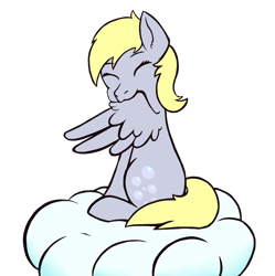 Size: 4932x4961 | Tagged: safe, artist:backgroundpony#f352, derpy hooves, pegasus, backgroundpony#f352 is trying to murder us, cloud, cute, derpabetes, eyes closed, grooming, preening, simple background, transparent background, weapons-grade cute, wings