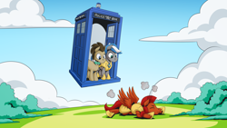 Size: 2560x1440   Tagged: safe, artist:mysticalpha, doctor whooves, time turner, oc, oc:captain sunride, oc:cloud zapper, earth pony, pegasus, armor, doctor who, male, pegasus oc, royal guard, royal guard armor, royal guard oc, stallion, tardis, the doctor