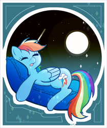 Size: 3808x4550   Tagged: safe, artist:vigasartroom, part of a set, rainbow dash, pegasus, pony, cute, dashabetes, drool, eyes closed, female, full moon, high res, lying down, mare, moon, night, open mouth, pillow, prone, sleeping, solo