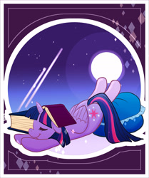 Size: 3808x4550 | Tagged: safe, artist:vigasartroom, part of a set, twilight sparkle, alicorn, pony, book, book on head, bookhorse, cute, eyes closed, female, floppy ears, full moon, high res, lying down, mare, moon, night, pillow, prone, sleeping, solo, twiabetes, twilight sparkle (alicorn)