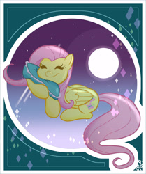Size: 3808x4550 | Tagged: safe, artist:vigasartroom, part of a set, fluttershy, pegasus, pony, cute, eyes closed, female, full moon, high res, mare, moon, night, pillow, shyabetes, sleeping, solo