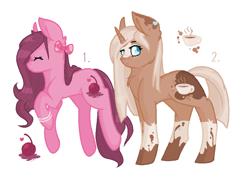 Size: 984x730 | Tagged: safe, artist:cookietasticx3, oc, oc only, earth pony, pony, unicorn, bow, duo, earth pony oc, eyes closed, hair bow, horn, simple background, smiling, socks (coat markings), unicorn oc, white background