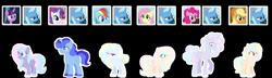 Size: 1280x370 | Tagged: safe, artist:disformed, applejack, fluttershy, pinkie pie, rainbow dash, rarity, trixie, twilight sparkle, oc, female, lesbian, magical lesbian spawn, offspring, parent:applejack, parent:pinkie pie, parent:rainbow dash, parent:rarity, parent:trixie, parent:twilight sparkle, parents:rarixie, parents:tripplejack, parents:trixdash, parents:trixiepie, parents:trixieshy, parents:twixie, rarixie, shipping, tripplejack, trixdash, trixie gets all the mares, trixiepie, trixieshy, twixie
