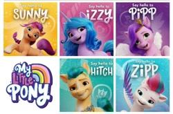 Size: 1265x837 | Tagged: safe, hitch trailblazer, izzy moonbow, pipp petals, sunny starscout, zipp storm, earth pony, pegasus, pony, unicorn, g5, female, male, mane five (g5), mare, my little pony logo, stallion