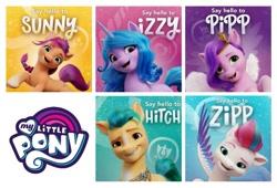Size: 1269x862 | Tagged: safe, hitch trailblazer, izzy moonbow, pipp petals, sunny starscout, zipp storm, earth pony, pegasus, pony, unicorn, g5, female, male, mane five (g5), mare, my little pony logo, stallion