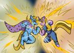 Size: 2100x1500 | Tagged: safe, artist:hemlock conium, trixie, twilight sparkle, saiyan, unicorn, colored, crossover, digital art, dragon ball z, duo, female, fight, mare, simple background, super saiyan, super saiyan princess