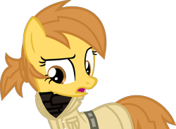 Size: 958x704 | Tagged: safe, artist:kingbases, artist:pegasski, oc, oc only, earth pony, pony, fallout equestria, base used, clothes, earth pony oc, enclave, eyelashes, female, mare, open mouth, simple background, solo, transparent background