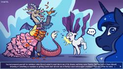 Size: 1920x1080 | Tagged: safe, artist:simondrawsstuff, discord, princess luna, rarity, alicorn, draconequus, pony, unicorn, ..., cheeto dust, cheetos, clothes, crossdressing, dream, dress, female, horrified, male, mare, one eye closed, pure unfiltered evil