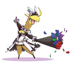 Size: 1413x1245 | Tagged: safe, artist:hitsuji, paprika paca, alpaca, them's fightin' herds, bouquet, clothes, community related, cosplay, costume, dress, elphelt valentine, flower, guilty gear, petals, simple background, solo, transparent background