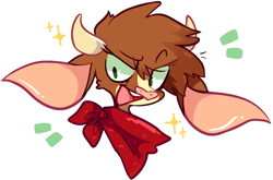 Size: 1518x1002 | Tagged: safe, arizona cow, cow, them's fightin' herds, bandana, big ears, bust, community related, cute, eyebrows visible through hair, horns, looking back, open mouth, raised eyebrow