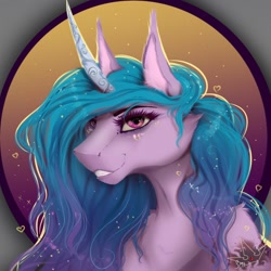 Size: 1024x1024 | Tagged: safe, artist:martazap3, izzy moonbow, earth pony, pony, unicorn, g5, abstract background, art, bust, cheek fluff, chest fluff, cutie mark, ear fluff, eyelashes, female, grin, heart, horn, mare, mlp g5, my little pony, portrait, shoulder fluff, smiling, solo